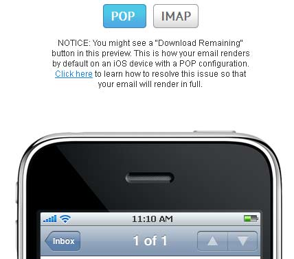 option to toggle between POP and IMAP when previewing a mobile Apple device