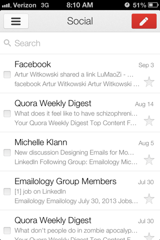 Screenshot of gmail inbox