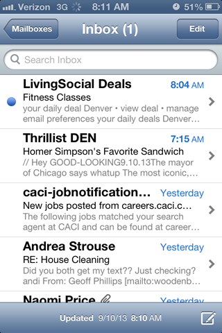Screenshot of native inbox