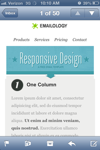 Emailology mobile friendly landing page