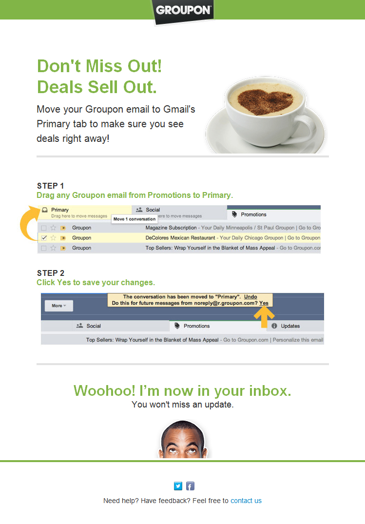 Groupon moving to primary tab
