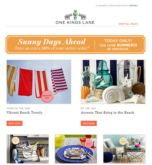 One Kings Lane website