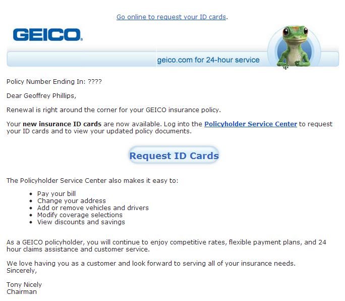 transactional email from Geico