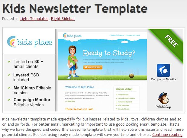 Free Email Templates.com Kids Newsletter example