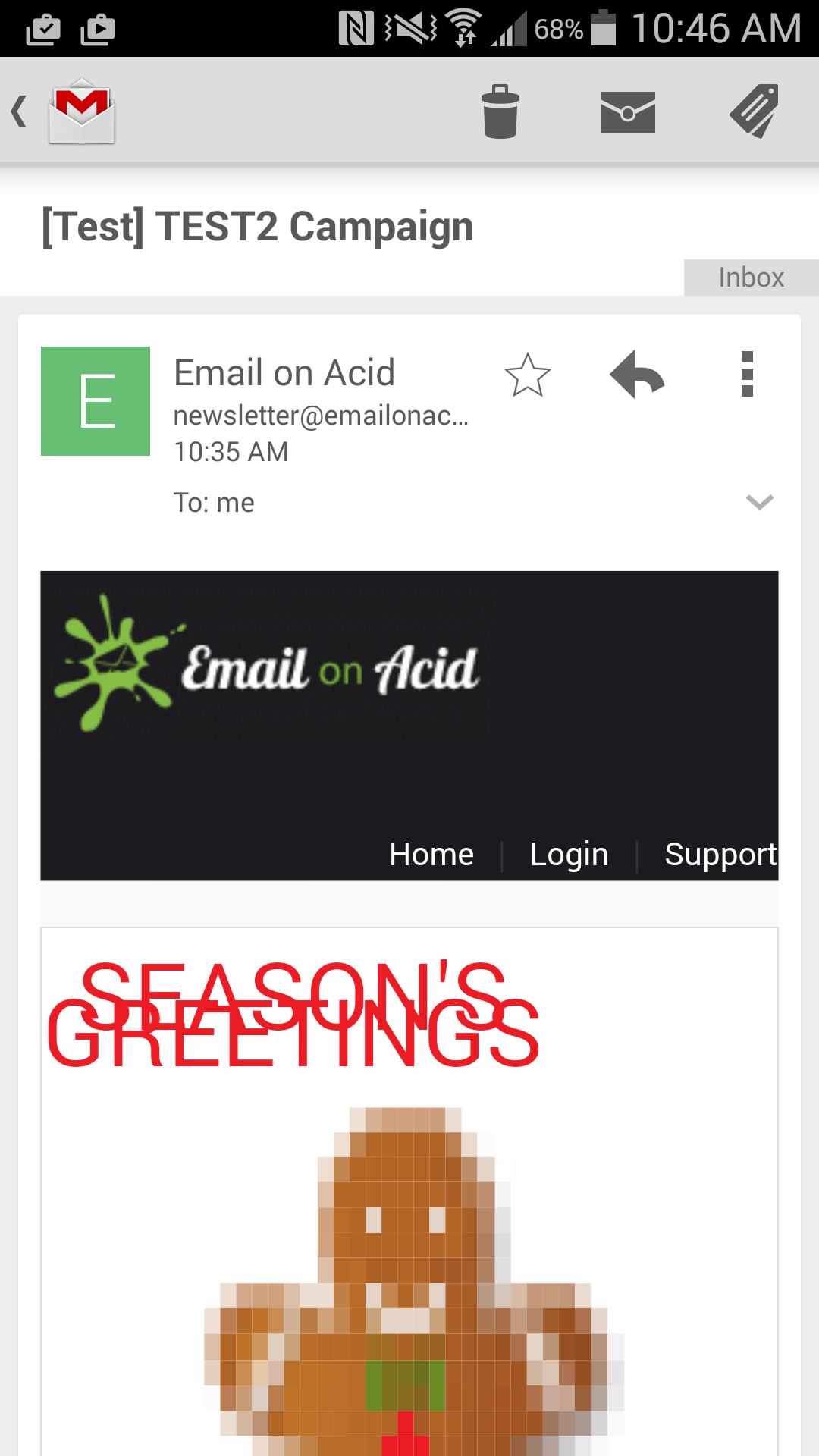 Messed up Email on Acid holiday newsletter