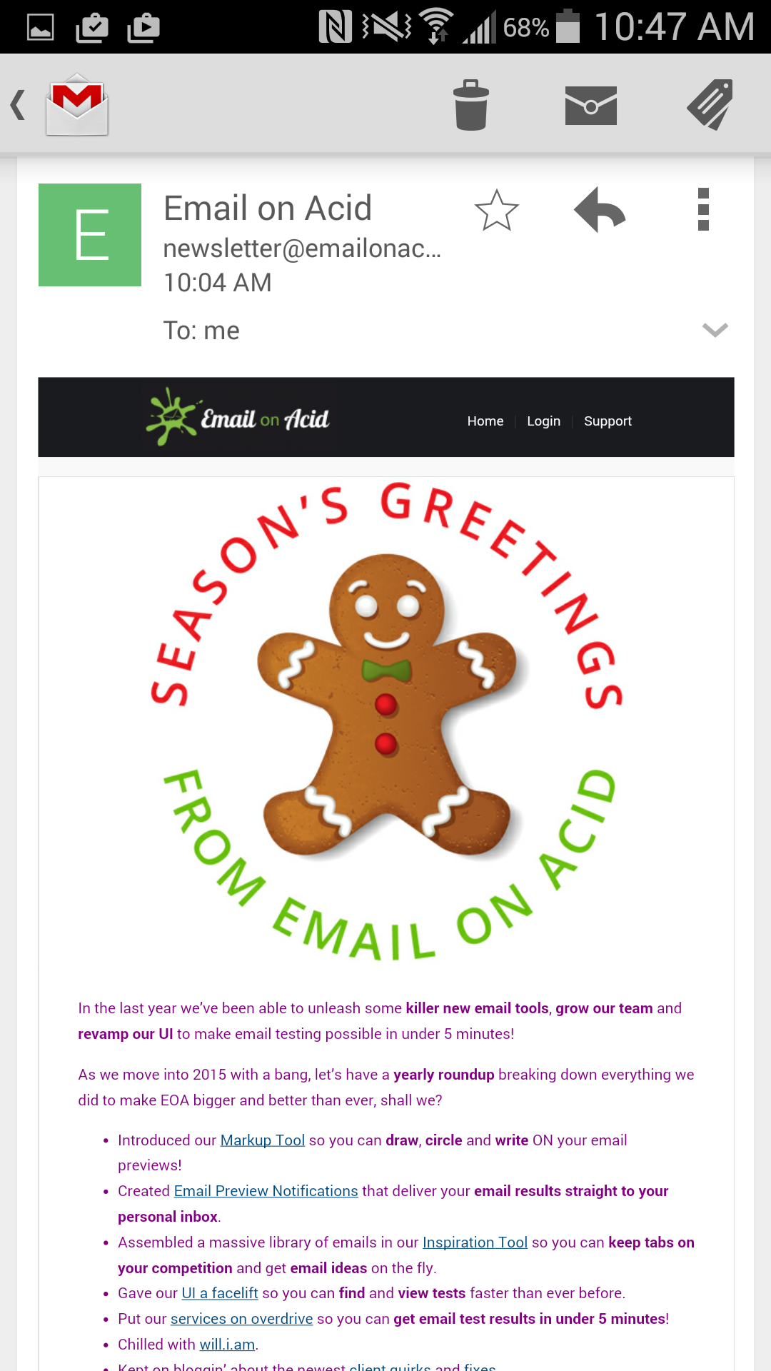 Fixed Email on Acid holiday newsletter