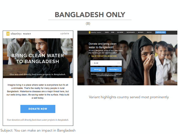 charity: water Bangladesh only offer