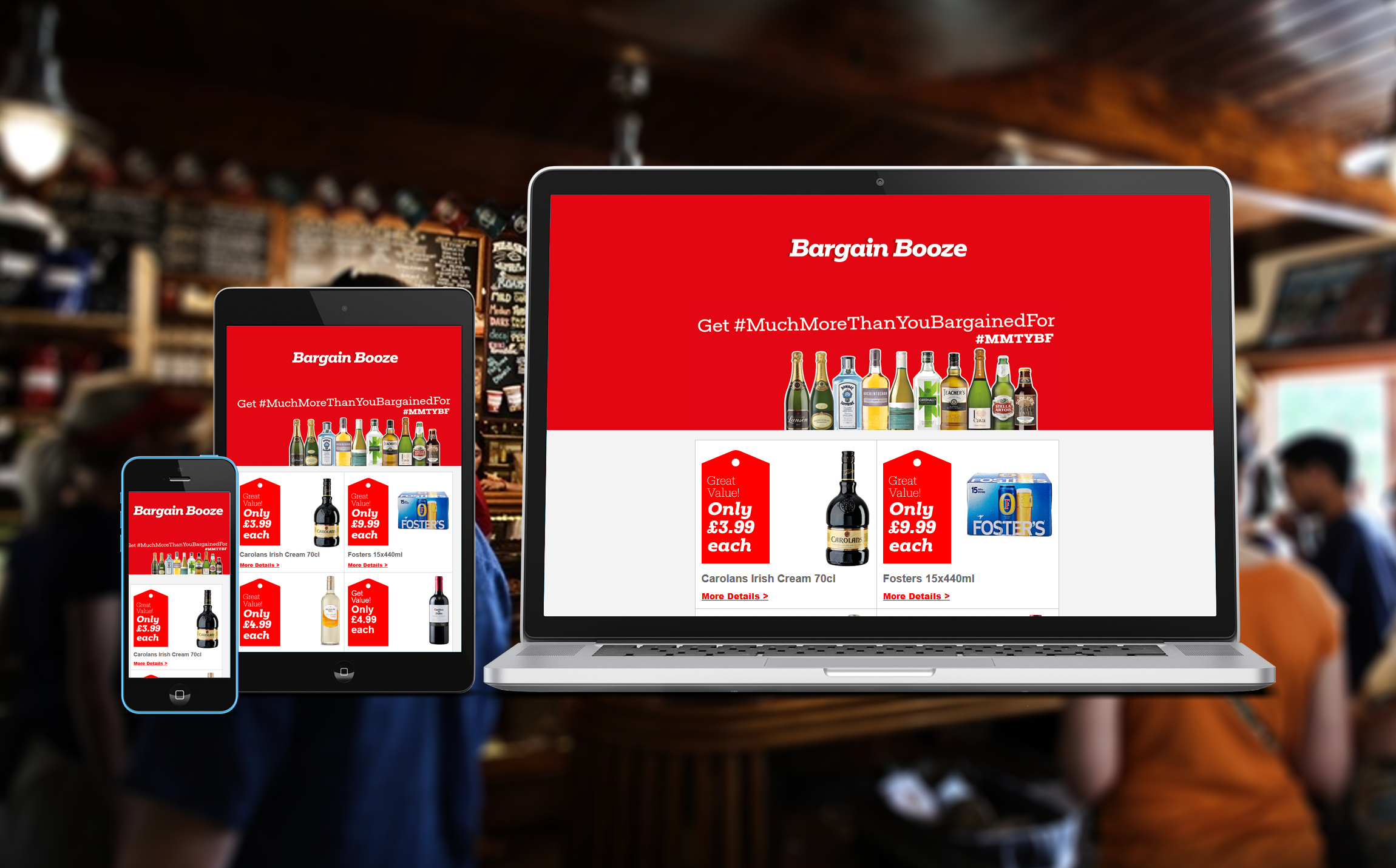 Bargain Booze mobile, tablet, and laptop rendering