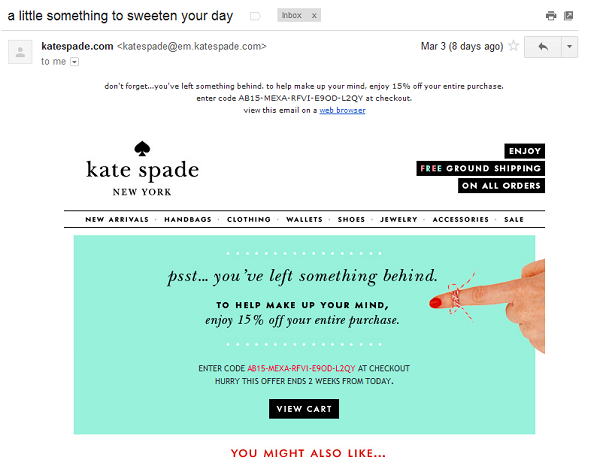 kate spade coupon email