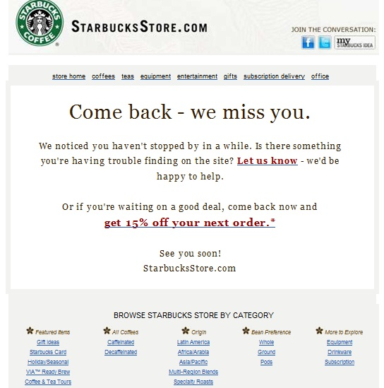 starbucks reactivation email