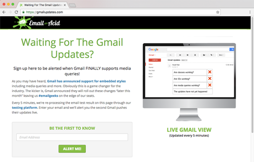Email on Acid Gmail update sign up
