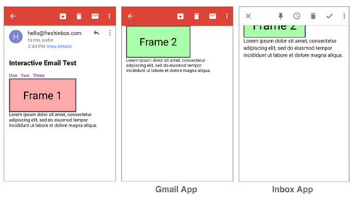 Gmail and Inbox App Frames
