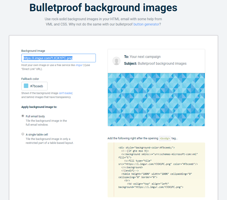 How to choose background images for email screenshot