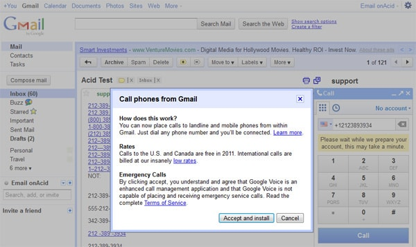 Cell phones from Gmail