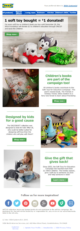 IKEA, UNICEF and Save the Children holiday email campaign