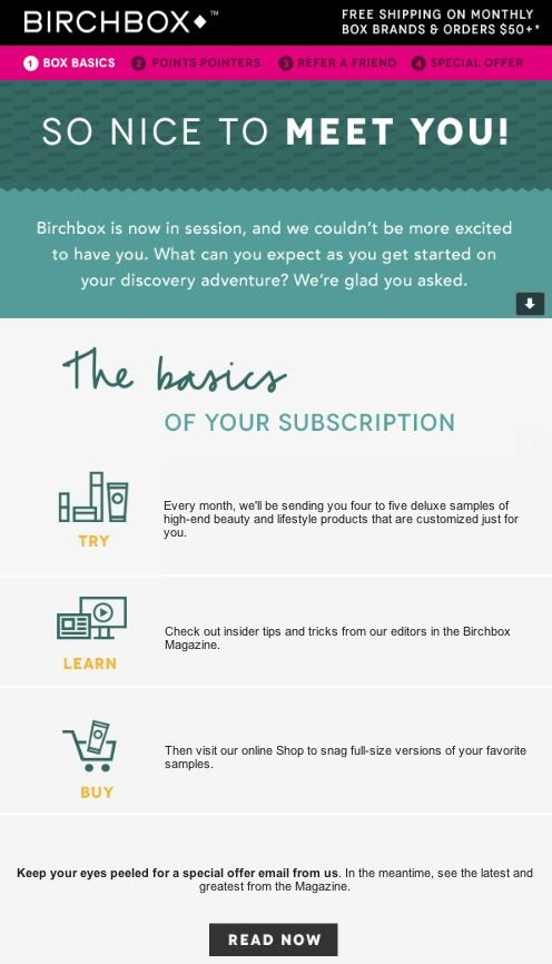 Birchbox expectations email