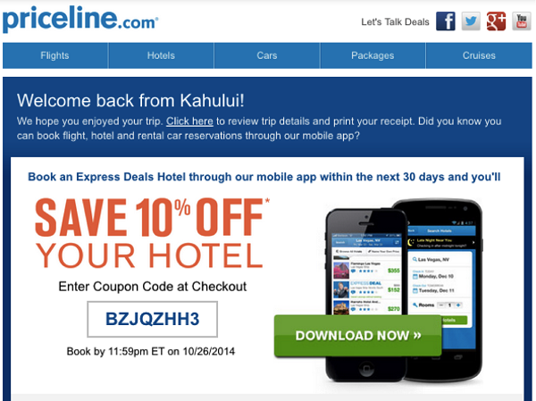 Priceline purchase followup email