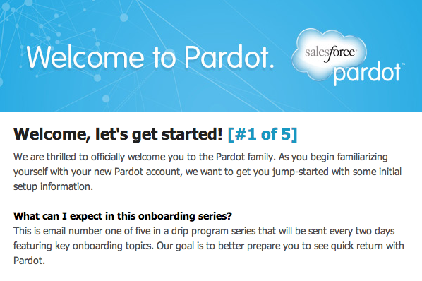 Pardot setting expectations email