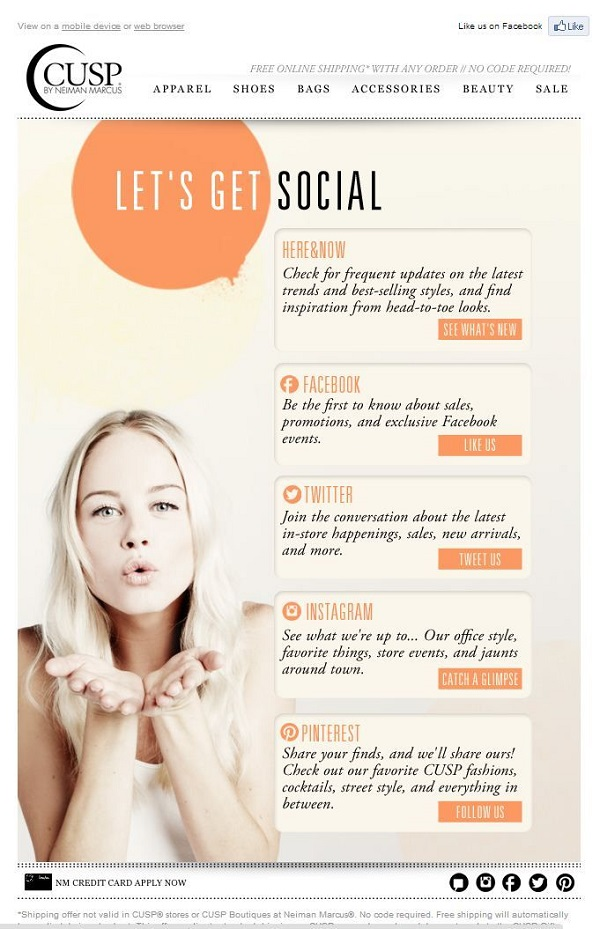 Neiman Marcus social media interactivity email