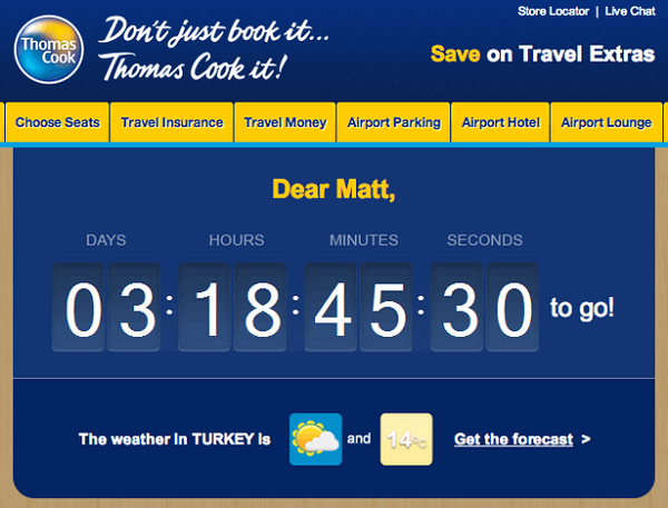 Thomas Cook personalized messaging
