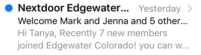 Preheader text example: Hi Tanya, recently 7 new members joined Edgewater Colorado!