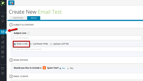 Entering URL into email test