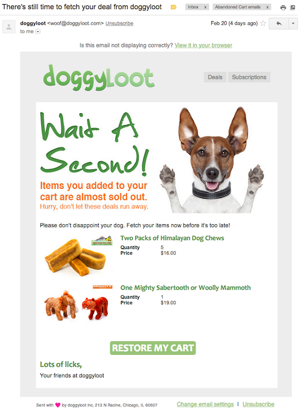 DoggyLoot shopping cart reminder email