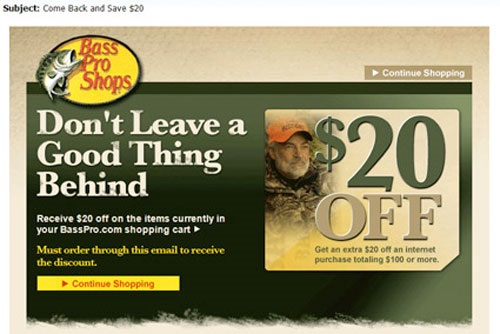 Bass Pro Shopping cart discount email