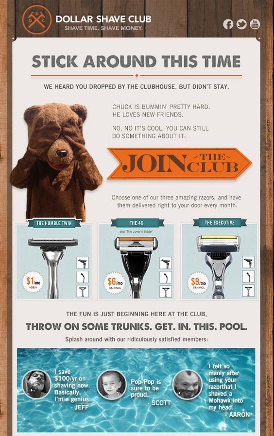 Dollar Shave Club social proof