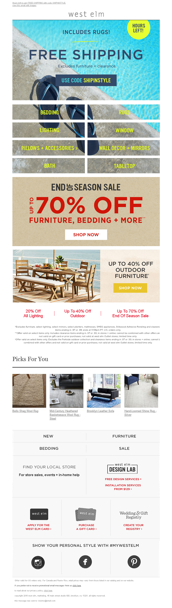 West Elm Email