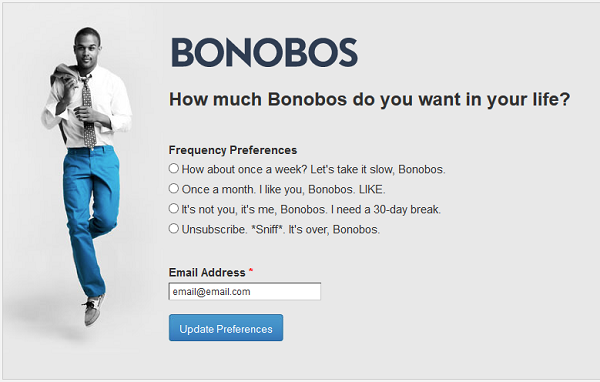 Bonobos email preference