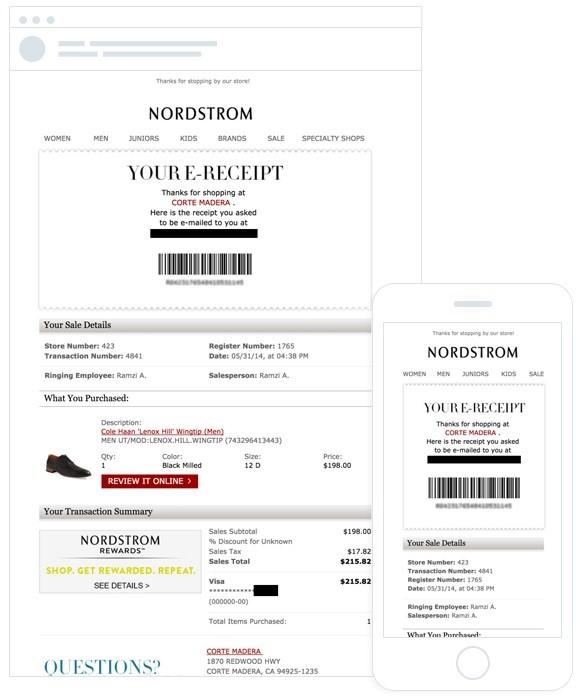 Nordstrom Personal Email Receipt