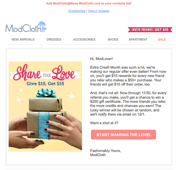 ModCloth double sided incentives