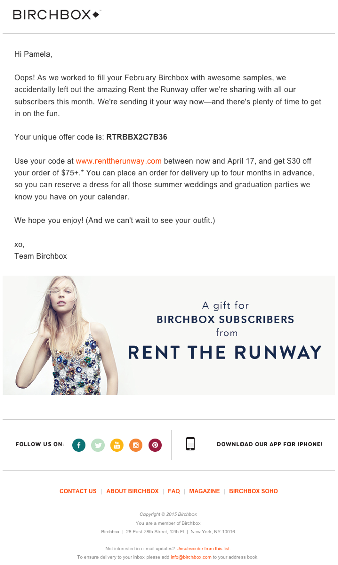 Birchbox concise email