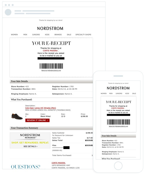 Nordstrom personalized email
