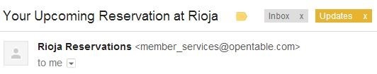 Rioja reservation email