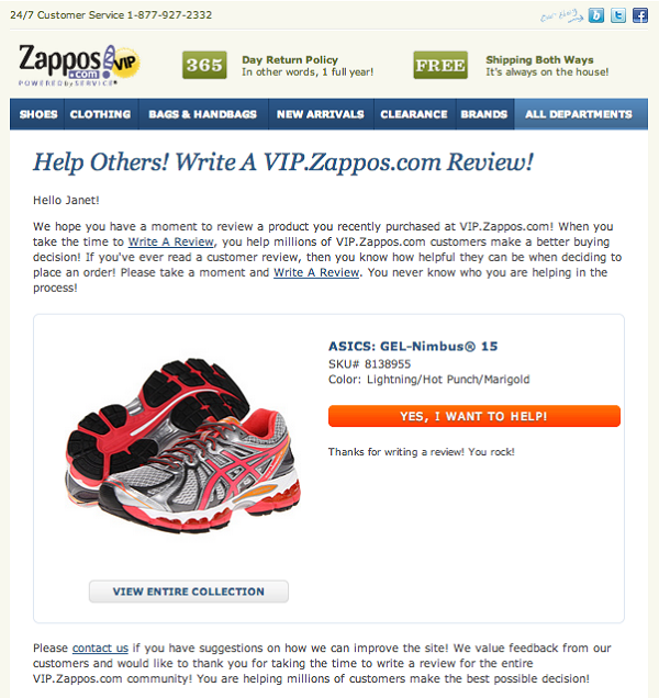 Zappos customer feedback email