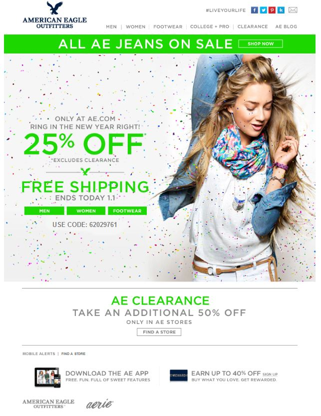 American Eagle sale and discount email
