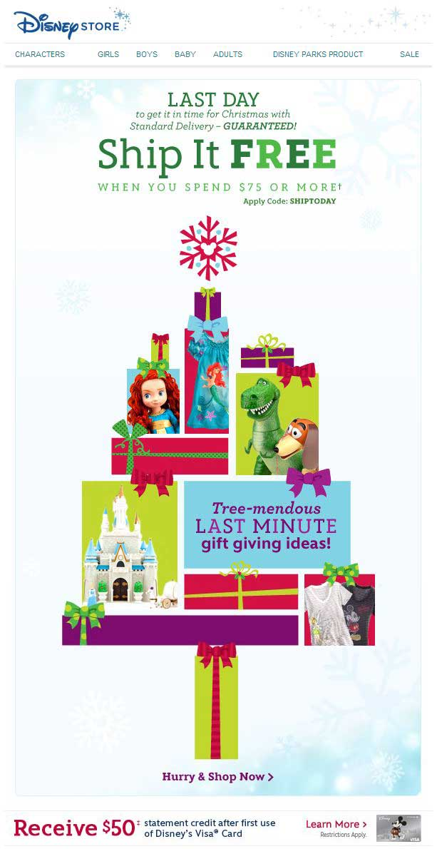 Disney Christmas reminder email