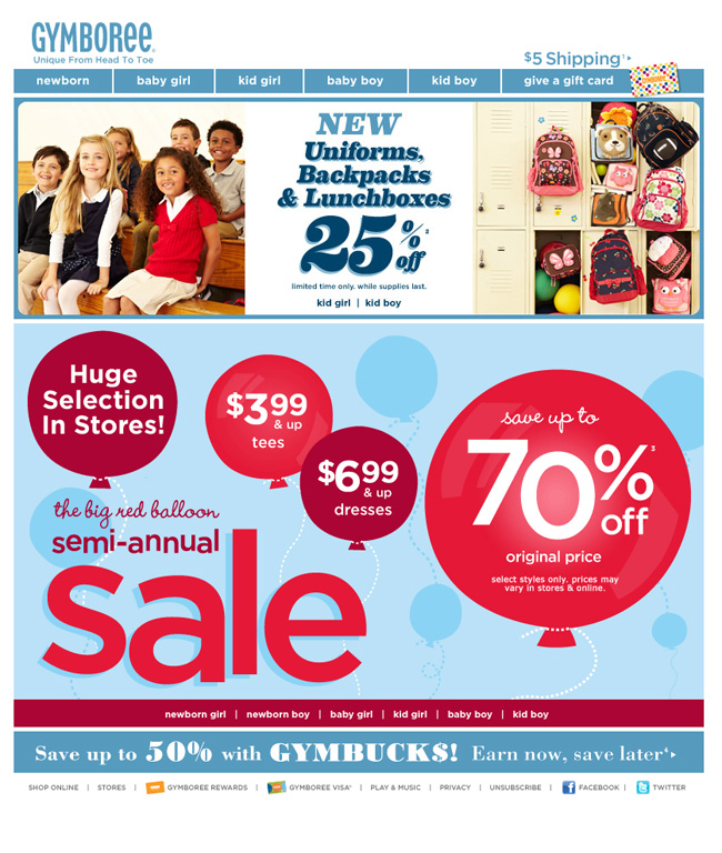 Gymboree back to school email