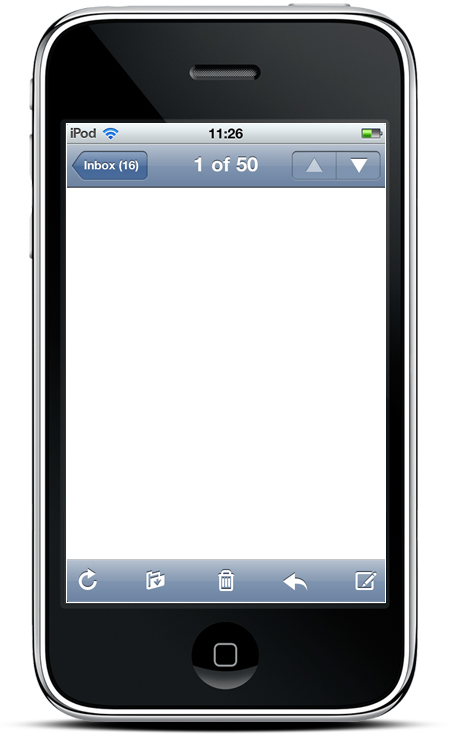 blank email inbox on iphone