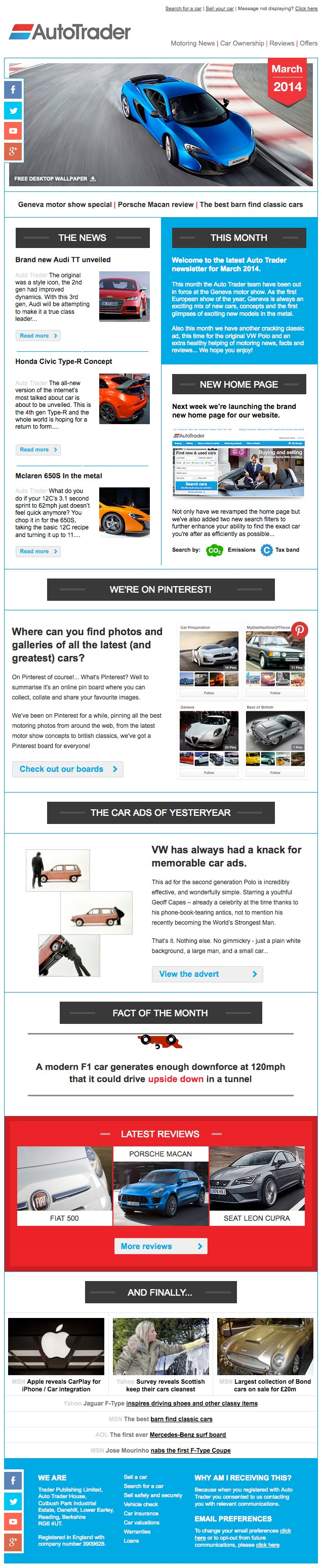 Chalk and Pixel's email template for Auto Trader
