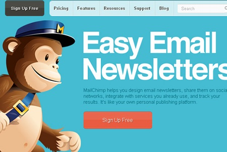 MailChimp sign up now button