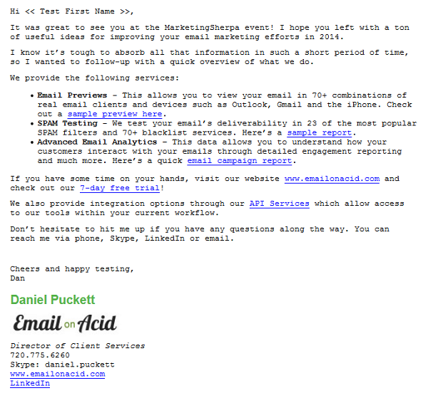 email on acid email campaign two