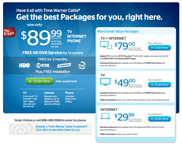 Time Warner discounted bundle deal