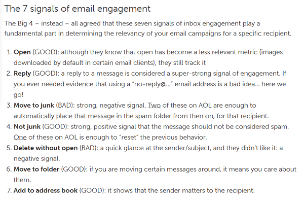 7 signs of email engagement