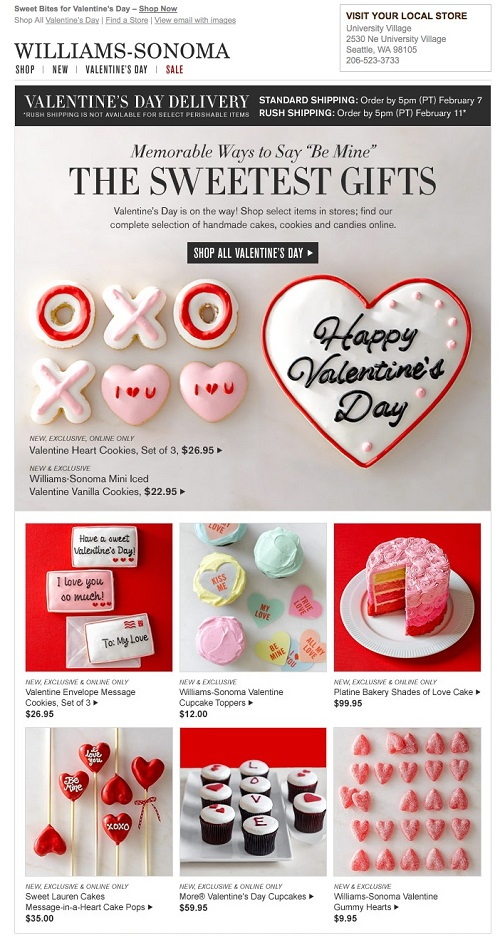 Williams and Sonoma valentine's email