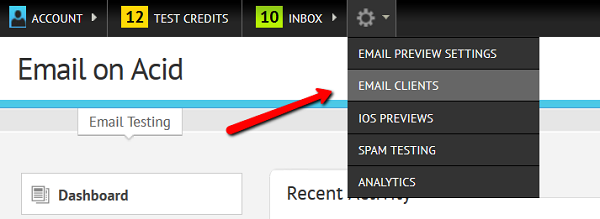 Choose Email Clients from the dropdown.
