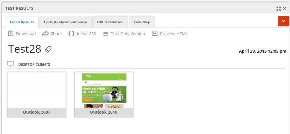 Email test results view