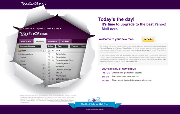 Yahoo mail update preview